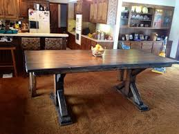 Rustic Farmhouse Dining Room Tables Rustic Pedestal Table And Bench