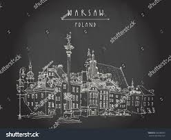 castle square old center warsaw poland stock vector 335288597