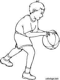 coloriage dessin enfant joue au basket ball dessin