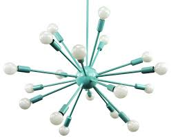 Mid Century Chandeliers Sputnik Chandelier Sea Foam Green Color Finish Midcentury