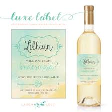 will you be my bridesmaid wine labels will you be my bridesmaid watercolor wine label