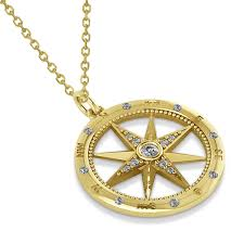 gold necklace with charm images Compass necklace pendant diamond accented 14k yellow gold 0 19ct jpg