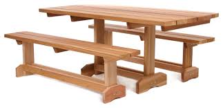 Cedar Patio Table Cedar 3 Piece Market Picnic Table Patio Set For 8 People