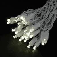 twinkling led lights on white wire with 50 wide angle