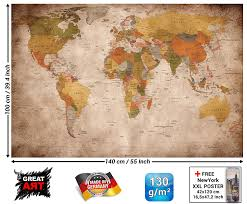 Map Art World Map Photo Wallpaper U2013 Vintage Retro Motif U2013 Xxl World Map