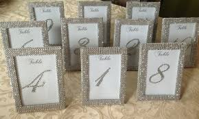 silver frames for wedding table numbers set of 20 5 x 7 frames in silver rhinestone ribbon and 10