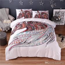 colorful horse printing abstract bedding set white duvet cover set double queen king size bedclothes hippie gypsy beddings bedding sets cotton