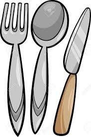 Kitchen Utensils Cartoon Illustration Of Kitchen Utensils Fork And Spoon And Knife