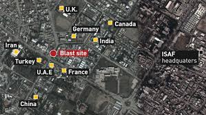 kabul map explosion in diplomatic row of kabul kills 90 wounds hundreds