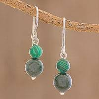 folklorico earrings sterling silver malachite earrings at novica