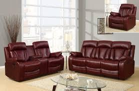 buy leather burgandy 2pc reclining livingroom set brooklyn