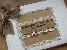 vintage wedding guest book lace with pearl border wedding guest book personalised