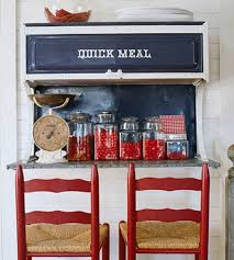White And Blue Kitchen - a country farmhouse decorated with red white and blue