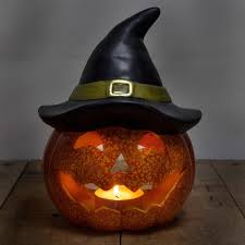 large 26cm ceramic halloween pumpkin with witch hat tea light