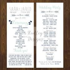 Wedding Bulletins Examples Wedding Programs Examples Three Column Wedding Program