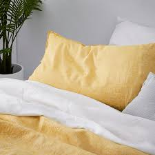 home republic vintage washed linen quilt cover mustard bedroom