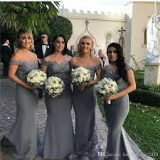 grey silver off the shoulder mermaid bridesmaid dresses long