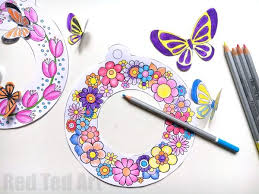 3d spring wreath coloring pages red ted art u0027s blog