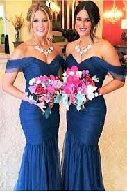 of honor dresses royal blue tulle the shoulder cheap bridesmaid dress with