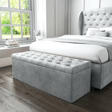 Grey Upholstered Ottoman Bed Fascinating Grey Ottoman With Storage Ottoman Storage Box In Grey