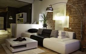 Simple Living Room Natural Simple Living Room With Brick Walls And Arch Stand Lamp
