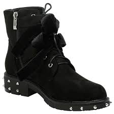 ladies lace up biker boots womens shoes ladies biker boots ankle velvet bow ribbon buckle