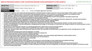 precision agriculture technician resume sample