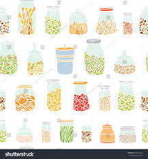 vector seamless pattern hand drawn kitchen stock vector 268425746 vector seamless pattern with hand drawn kitchen jars filled with colorful meals cool design elements