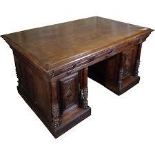 19th century antique french renaissance style oak partner desk