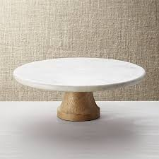 marble cake stand wood marble pedestal crate and barrel