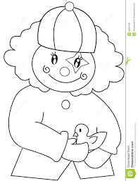 clown with a bird coloring page stock illustration image 52087186