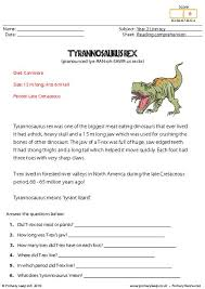 primaryleap co uk reading comprehension tyrannosaurus rex read