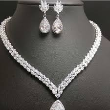 bridal necklace set images 2018 new water drop bridal jewelry sets crystal jewelry set four jpg
