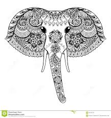 zentangle stylized indian elephant hand drawn paisley vector il