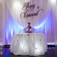 wedding backdrop name large purple name plate on voile backdrop cake table