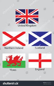 The England Flag Flags British Northern Ireland Scotland Wales Stock Vector