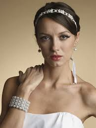 bridal headband classic bridal headband with swarovski crystals and delicate ribbon