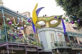 large mardi gras mask disneyland gets ready for wars construction as season arrives