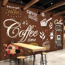 wallpaper coffee design custom any size european style retro hand painted poster mural
