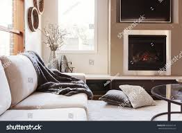 warm inviting interior gas log fireplace stock photo 683561149