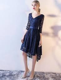 3 4 sleeve bridesmaid dresses navy blue lace high low modest bridesmaid dresses 3 4