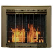 pleasant hearth grandior bay small glass fireplace doors gr 7200