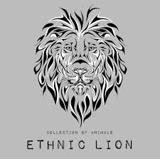 ethnic black head of lion on grey totem tattoo design use for