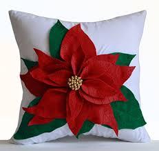 Christmas Decorative Pillows Amazon by Poinsettia Decorative Throw Pillow Cover Red Felt On White Cotton