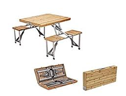 Folding Wooden Garden Table Plixio Portable Folding Wooden Picnic Table With 4