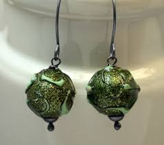 paper mache earrings vintage bead earrings wasabi zen vintage japanese paper mache