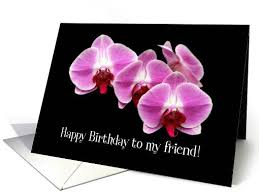 happy birthday my friend pink orchids card recent sales