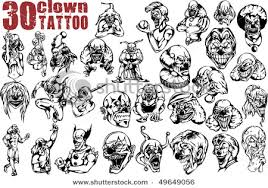 evil clown tattoos designs