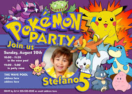 Design For Birthday Invitation Card Pokemon Birthday Invitations Kawaiitheo Com