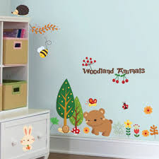 1221 woodland animal cartoon children kindergarten nursery room